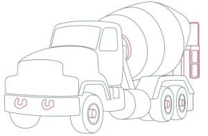 Как рисовать машины. Цементовоз поэтапно в 10 шагов 8