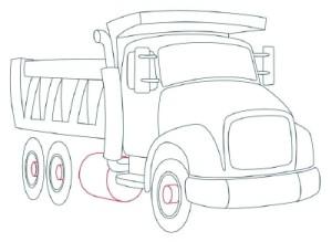 Как рисовать машины. Самосвал поэтапно в 11 шагов 9