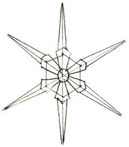 Как нарисовать Снежинку поэтапно в 5 шагов 4