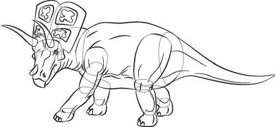 Как рисовать динозавра Арриноцератопс в 6 шагов