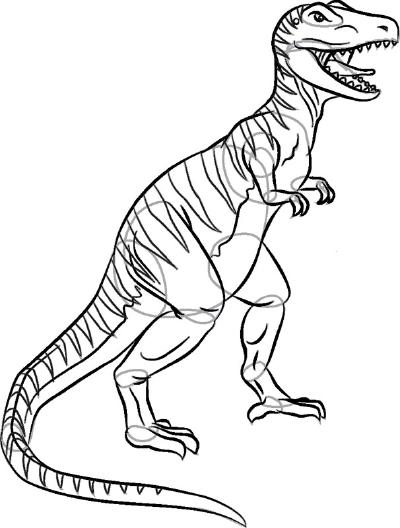 Как нарисовать динозавра Тираннозавр Рекс в 8 шагов