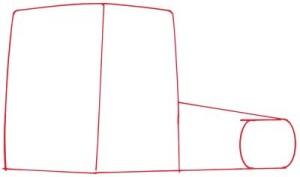 Как нарисовать грузовик поэтапно в 5 шагов. Шаг 1.