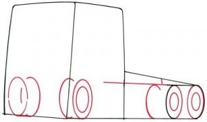 Как нарисовать грузовик поэтапно в 5 шагов. Шаг 2.