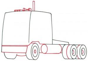 Как нарисовать грузовик поэтапно в 5 шагов. Шаг 3.