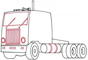 Как нарисовать грузовик поэтапно в 5 шагов. Шаг 4.