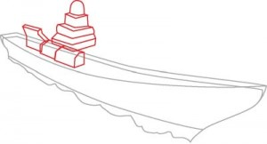 Как нарисовать корабль Эсминец поэтапно в 8 шагов. Шаг 2.