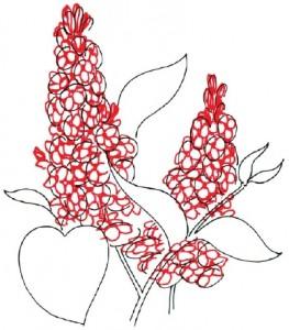 Как нарисовать цветы Сирени поэтапно в 5 шагов. Шаг 2