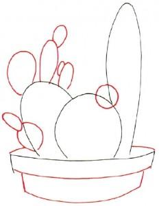 Как нарисовать Кактус поэтапно в 7 шагов. Шаг 2