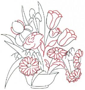 Как нарисовать Цветочную Композицию из полевых цветов поэтапно в 7 шагов. Шаг 2