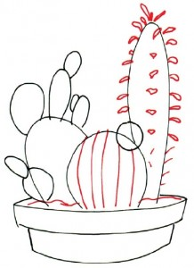 Как нарисовать Кактус поэтапно в 7 шагов. Шаг 3