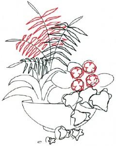 Как нарисовать Цветочную композицию поэтапно в 7 шагов. Шаг 3