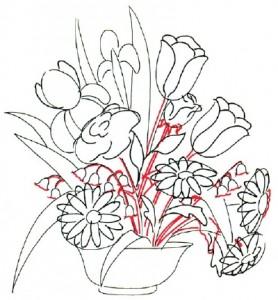 Как нарисовать Цветочную Композицию из полевых цветов поэтапно в 7 шагов. Шаг 3