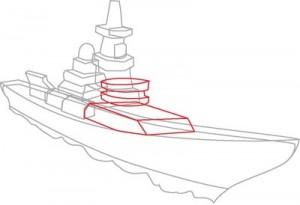 Как нарисовать корабль Эсминец поэтапно в 8 шагов. Шаг 4.