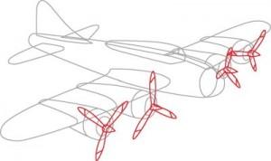 Как нарисовать самолет второй мировой войны поэтапно в 7 шагов. Шаг 4