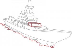 Как нарисовать корабль Эсминец поэтапно в 8 шагов. Шаг 5.