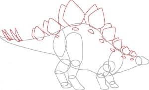 Как нарисовать динозавра Стегозавра поэтапно в 7 шагов. Шаг 5