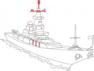 Как нарисовать корабль Эсминец поэтапно в 8 шагов. Шаг 7.