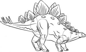 Как нарисовать динозавра Стегозавра поэтапно в 7 шагов. Шаг 7