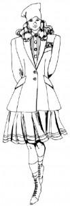 Как нарисовать Девушку в юбке и пиджаке поэтапно в 5 шагов 1
