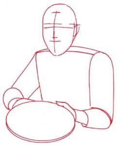 Как нарисовать Повара поэтапно в 5 шагов 2