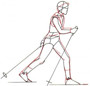 Как нарисовать Лыжника поэтапно в 5 шагов 3