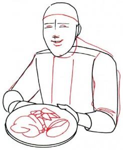 Как нарисовать Повара поэтапно в 5 шагов 3