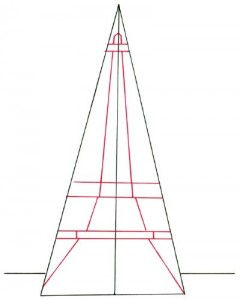 Как нарисовать Эйфелеву башню поэтапно в 5 шагов 3