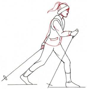 Как нарисовать Лыжника поэтапно в 5 шагов 4