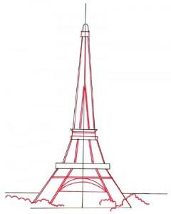 Как нарисовать Эйфелеву башню поэтапно в 5 шагов 4