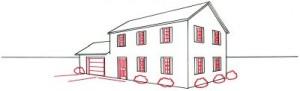 Как нарисовать кирпичный дом поэтапно в 5 шагов. Картинка 4.