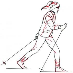 Как нарисовать Лыжника поэтапно в 5 шагов 5
