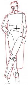 Как нарисовать Женщину в пальто поэтапно в 5 шагов 3