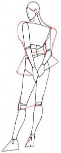 Как нарисовать Девушку в коктейльном платье 3