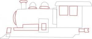 Как нарисовать Паровоз поэтапно в 7 шагов 4