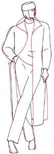 Как нарисовать Женщину в пальто поэтапно в 5 шагов 4
