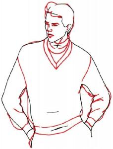 Как нарисовать Мужчину в свитере поэтапно в 5 шагов 4