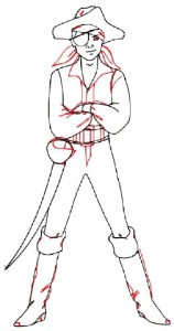 Как нарисовать Мальчика пирата поэтапно в 5 шагов 4