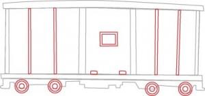 Как нарисовать Вагон поезда поэтапно в 6 шагов 4