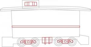 Как нарисовать Тормозной вагон поезда поэтапно в 6 шагов 4