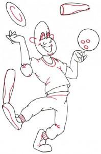 Как нарисовать Жонглера поэтапно в 5 шагов 4