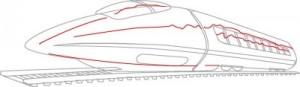 Как нарисовать Сверхскоростной поезд поэтапно в 6 шагов 6