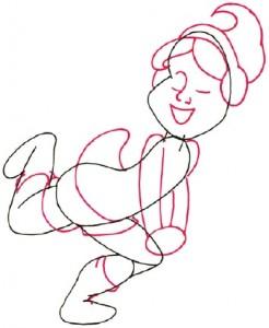 Как нарисовать Девочку на роликах поэтапно в 5 шагов 3