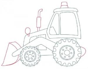 Как нарисовать машину. Экскаватор поэтапно в 10 шагов 6