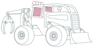 Как нарисовать машину. Трактор поэтапно в 10 шагов 9
