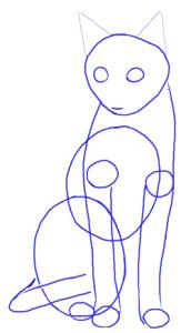 Как нарисовать Кошку поэтапно в 5 шагов 3