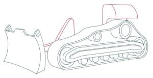 Как рисовать машины. Бульдозер поэтапно в 11 шагов 6
