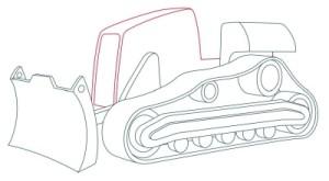 Как рисовать машины. Бульдозер поэтапно в 11 шагов 7