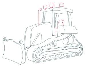 Как рисовать машины. Бульдозер поэтапно в 11 шагов 9