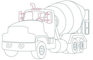 Как рисовать машины. Цементовоз поэтапно в 10 шагов 9