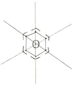 Как нарисовать Снежинку поэтапно в 5 шагов 3